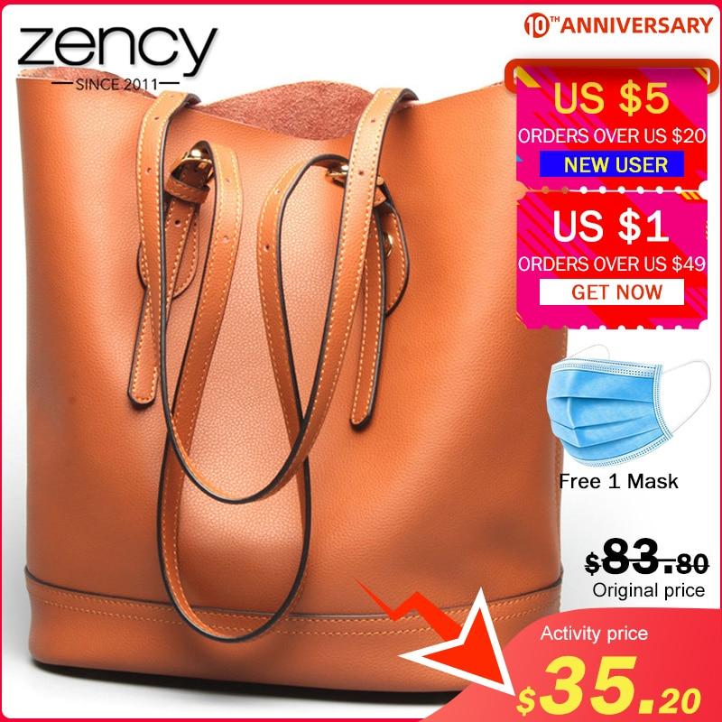 Zency Large Capacity Women Shoulder Bags 100% Genuine Leather Handbag Brown Vintage Shopping Bag Super Quality Casual Tote Purse