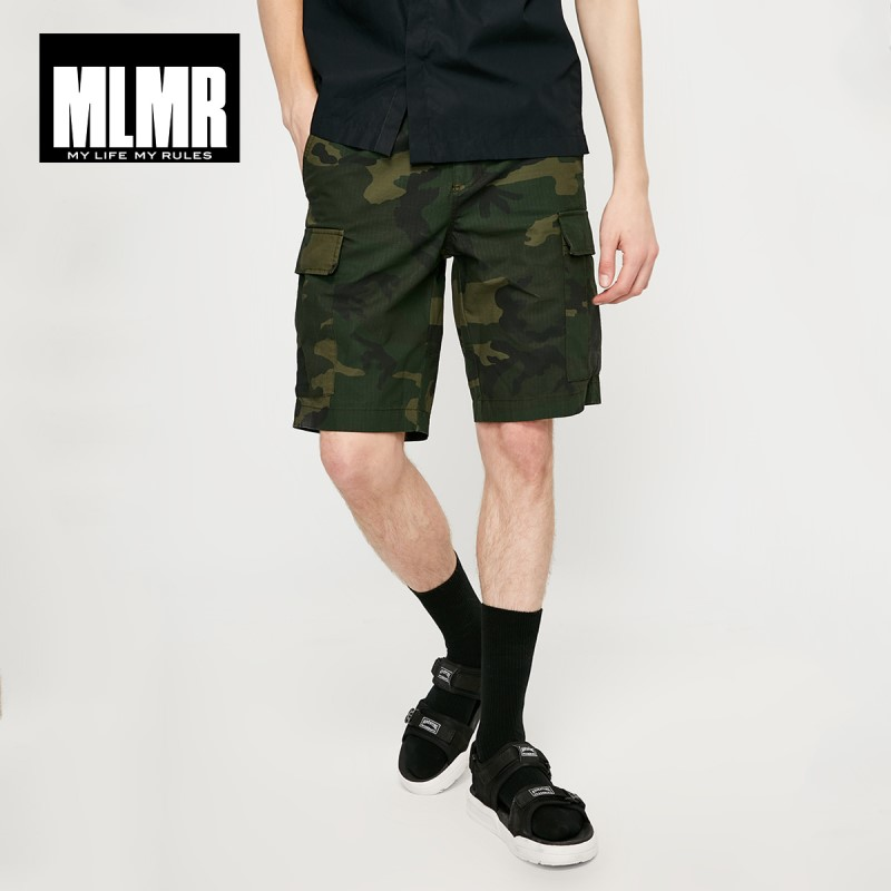 JackJones MLMR Men's 100% Cotton Streetwear Camouflage Straight Fit Knee-high Shorts| 219115516