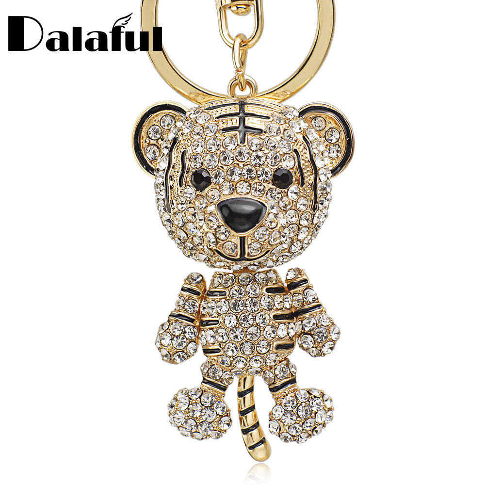 Dalaful Tiger Crystal Rhinestone Keychain Purse Bag Buckle HandBag Pendant For Car Keyring Holder Fashion Gift K232