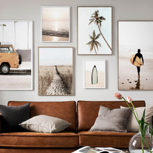 Coconut Tree Surfboard Surf Boy Wall Art Canvas Painting Print Nordic Posters And Prints Pictures For Living Room