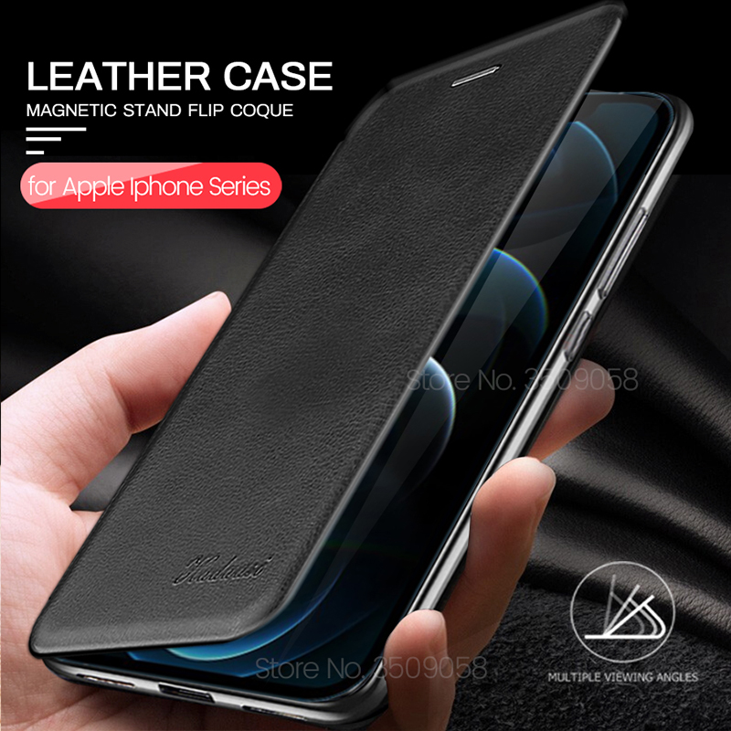 book style magnetic stand flip leather case for iphone12 i phone 12 mini case aphone aifon 11 12 pro 11 xs max xr x 6 7 8 plus