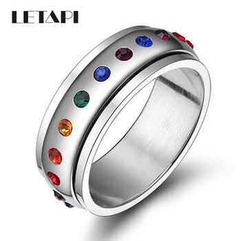 LETAPI 2020 nuevo anillo giratorio de moda para mujer, anillo de boda de acero inoxidable de Color plata y cristal arcoíris, venta al por mayor
