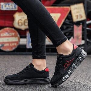 Image 1 - Mulher vulcanizado sapatos primavera verão sapatos casuais senhoras respirável tênis de lona feminino graffiti impresso sapatos planos mais tamanho