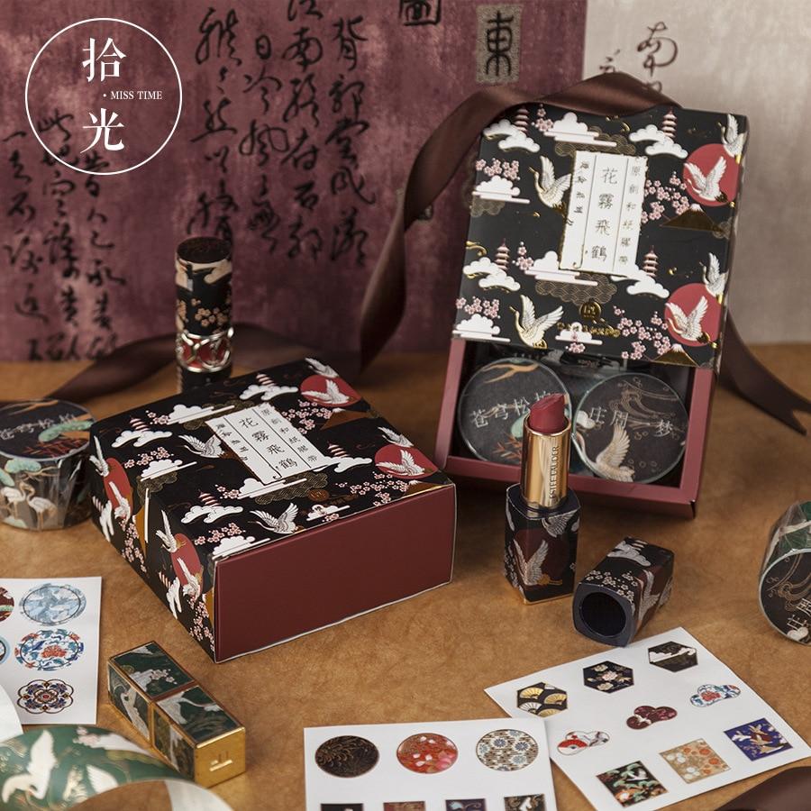 conjunto de fita washi vintage 3 rolos fitas de mascaramento mais 3 folhas adesivos colorido decoracao
