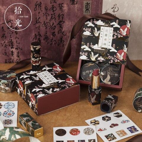 conjunto de fita washi vintage 3 rolos fitas de mascaramento mais 3 folhas adesivos colorido
