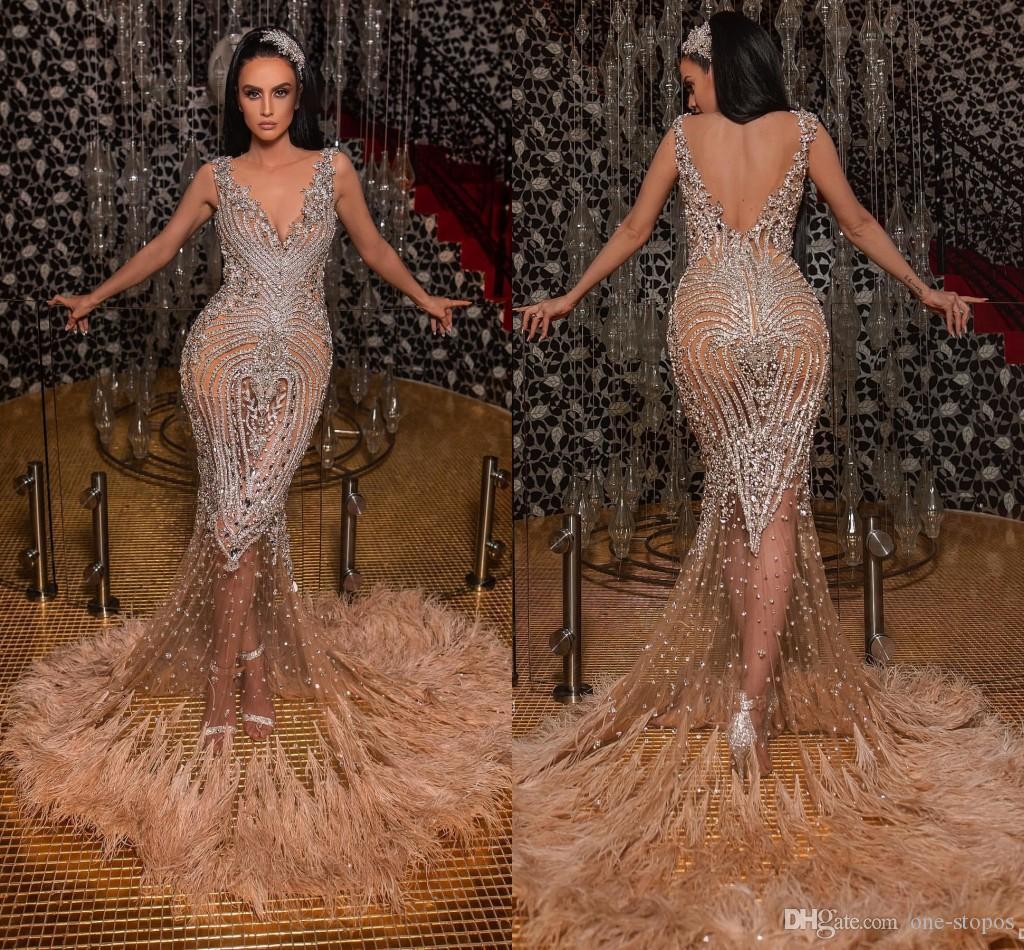 Arabe luxueux sirène robes de soirée perles cristaux plume robes de bal dos nu formelle fête robes de reconstitution historique