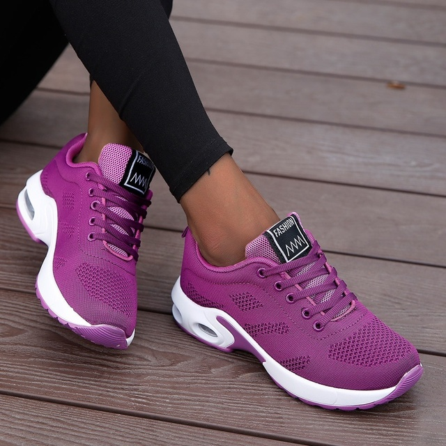 Fashion Women Lightweight Sneakers Running Shoes Outdoor Sports Shoes Breathable Mesh Comfort Running Shoes Air Cushion Lace Up 4