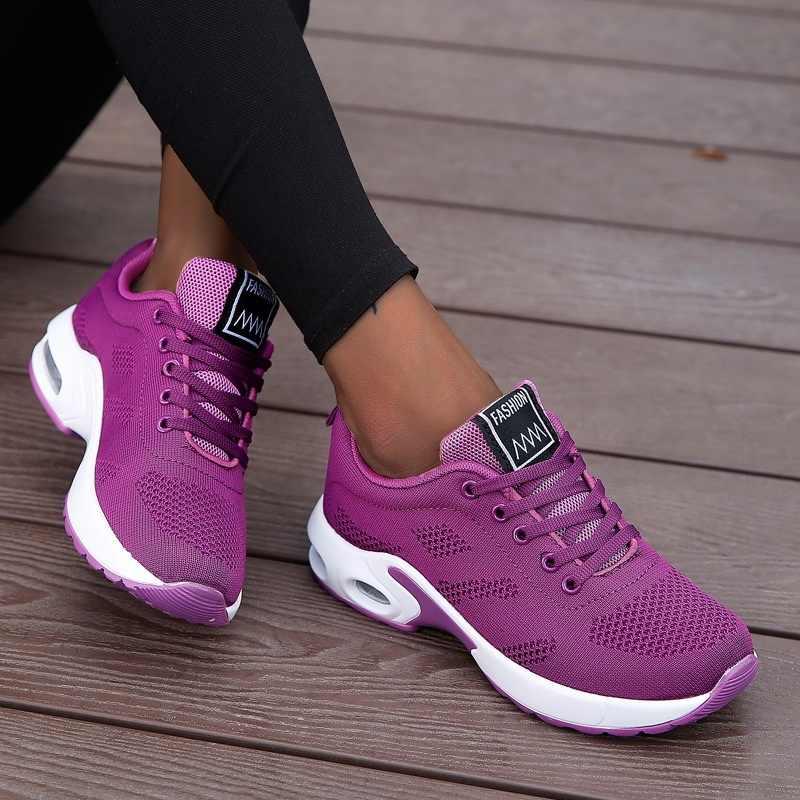 Mode Frauen Leichte Turnschuhe Laufschuhe Outdoor Sport Schuhe Atmungsaktives Mesh Komfort Laufschuhe Air Kissen Spitze Up