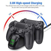 for PS4 Charging Base Wireless Game Controller Charger Dual Led Light Display