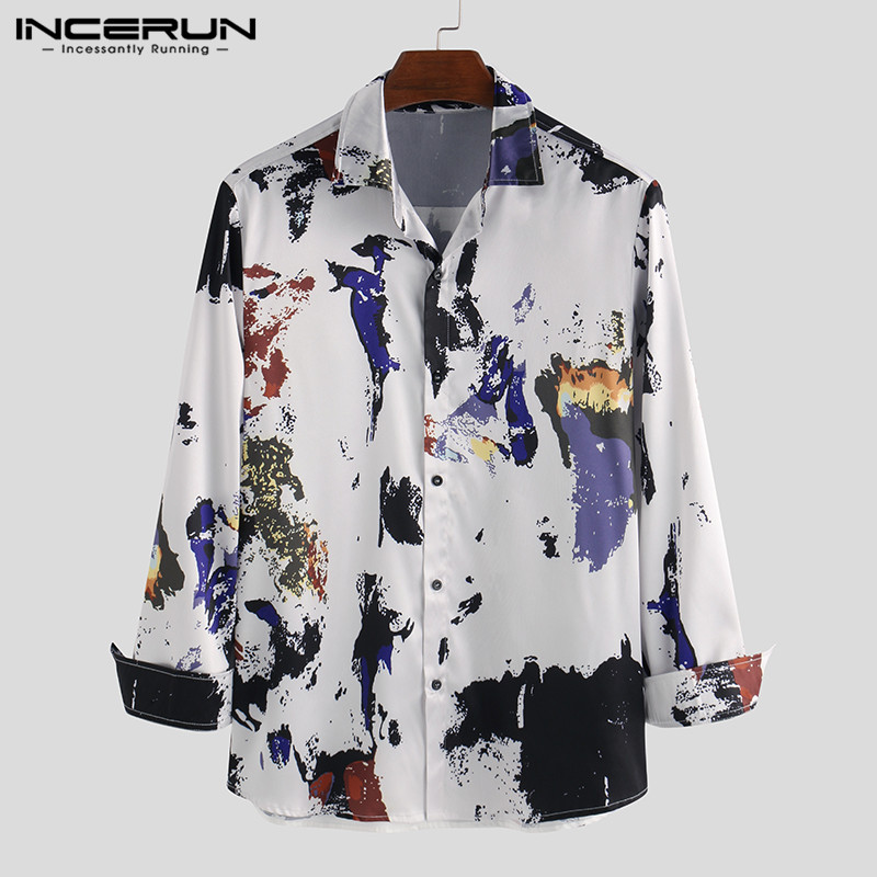 INCERUN 2020 Fashion Printing Men Dress Shirt Streetwear Long Sleeve Camisa Lapel Breathable Button Hawaiian Mens Casual Shirts
