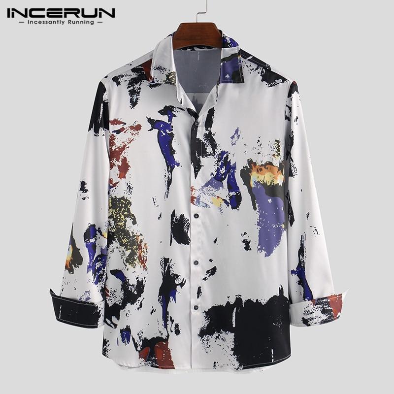 INCERUN 2020 Fashion Printing Men Dress Shirt Streetwear Long Sleeve Camisa Lapel Breathable Button Hawaiian Mens Casual Shirts