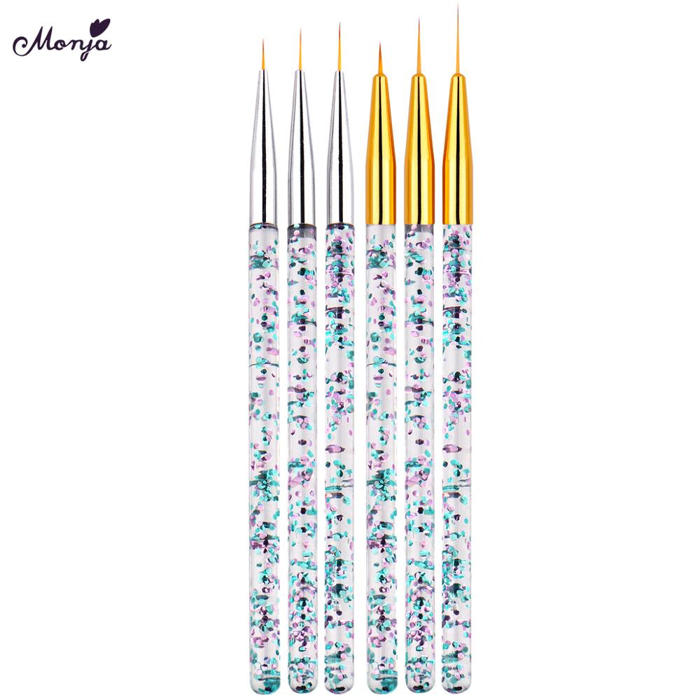 Monja 3pcs Nail Art Liner Brush Sequin Handle French Lines Stripes Painting Flower Drawing Pen DIY Manicure Tools Kit