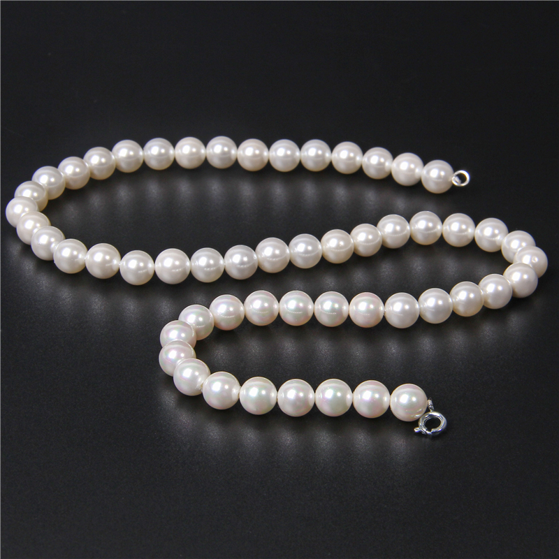 White Freshwater Round Pearl Shell Beaded Necklaces Natural Mother of Pearl Shell Chockers Wedding Chains Jewelry Gifts Women