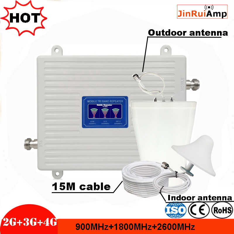 GSM 900 DCS/LTE 1800 FDD LTE 2600 2G 3G 4G Triple Band Mobile Signal Repeater 70dB Gain 23dBm Signal Booster Cellular Amplifier
