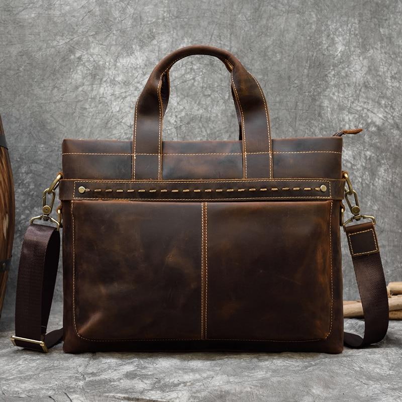 "Vintage men/'s Cowhide Leather Briefcase Messenger Laptop hand Bag Tote 15/"""