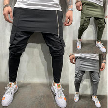 2019 sexy high wasit spring summer fashion pocket Men's Slim Fit Plaid Straight Leg Trousers Casual Pencil Jogger Casual Pants(China)