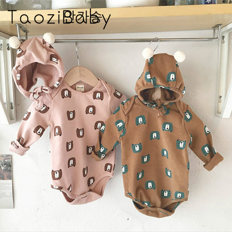 Kids Bodysuit Baby Clothes For Boys And Girls Cartoon Bear Romper + Hat Baby Bodysuit Two-piece Clothes Little Girls Clothing