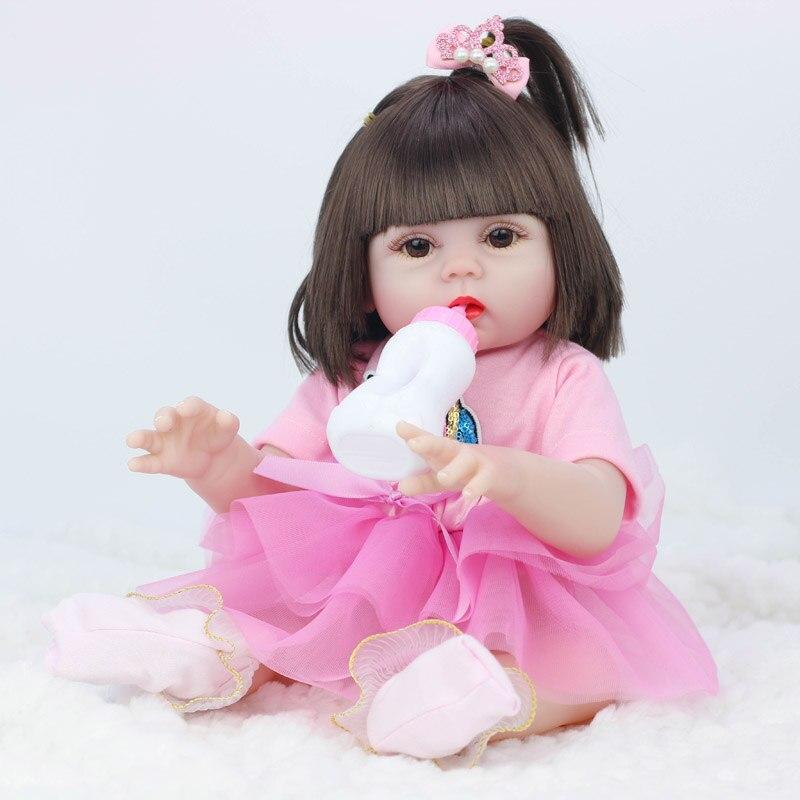 45cm poupées peuvent faire pipi bébé bebe poupée reborn Simulation bébé poupées Silicone souple Reborn bambin bébé jouets pour filles enfants