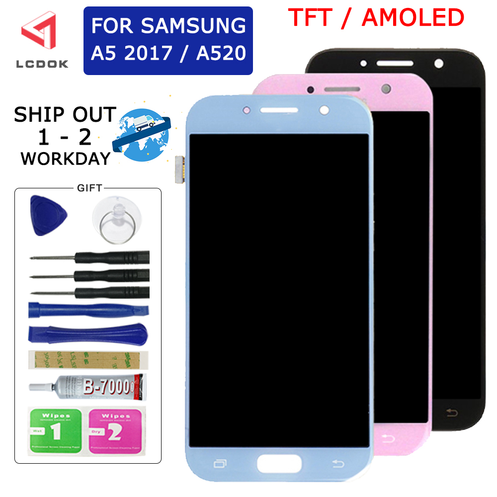 A520 Super <font><b>AMOLED</b></font> Display For <font><b>Samsung</b></font> Galaxy A5 2017 <font><b>A520F</b></font> LCD Display Touch Screen Digitizer Assembly Panel Replacement Parts image