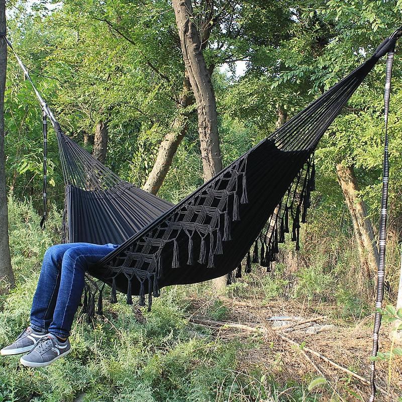 Fringed Macramé Hammock Cotton Tree Hammock Swing Bed for Patio(China)