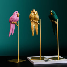 Nordic Creative Resin Simulated Animal Lucky Parrot Bird Crafts Ornaments Gold Modern Home Desktop Decoration Figurines Gift(China)