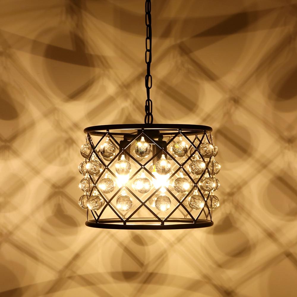 Image 2 - Industrial retro crystal decorative pendant lamp E14 living room bedroom interior lighting lamp kitchen loft hotel pendant light-in Chandeliers from Lights & Lighting