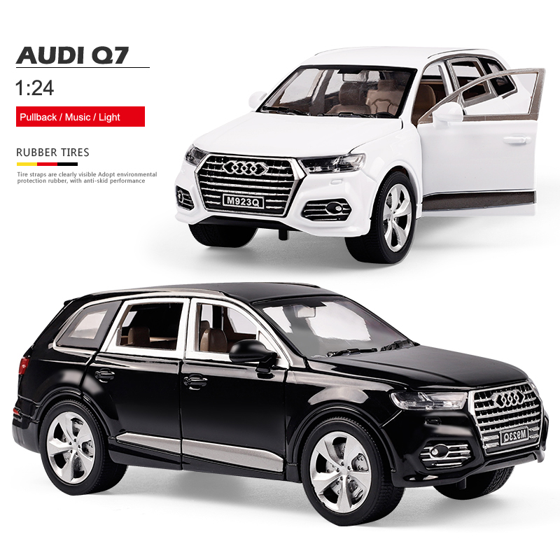 1:24 Q7 Alloy Metal Car Model Toys For Kids Collection With 6 Open Die Cast Vehicles Pull-back Vehicle Gift With Battery