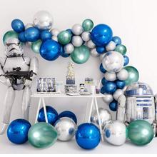Blue Metallic Chrome Latex Balloons, 50pcs 12 Inch Sliver Metallic Balloons Green Shiny Party Balloons for Bridal Shower Wedding