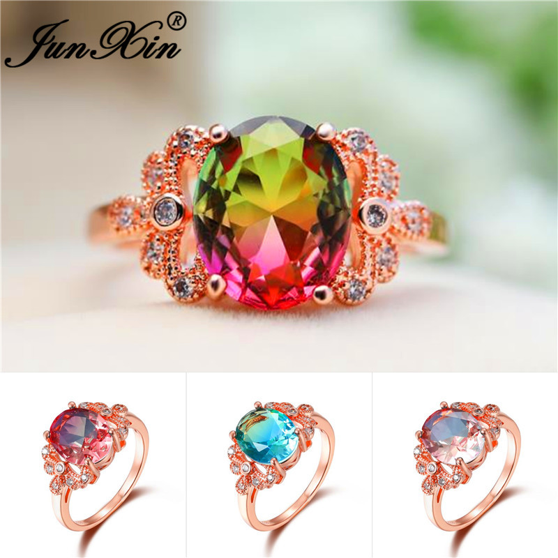 Stone-Rings Jewelry Wedding-Bands Crystal Rainbow Green Zircon Rose-Gold Female Blue