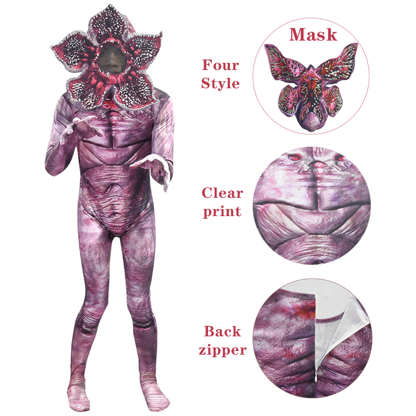 Kid Halloween Costume Stranger Things Cosplay Costume Children Horror Jumpsuits Scarry Zombie Demogorgon Cosplay Zentai Bodysuit