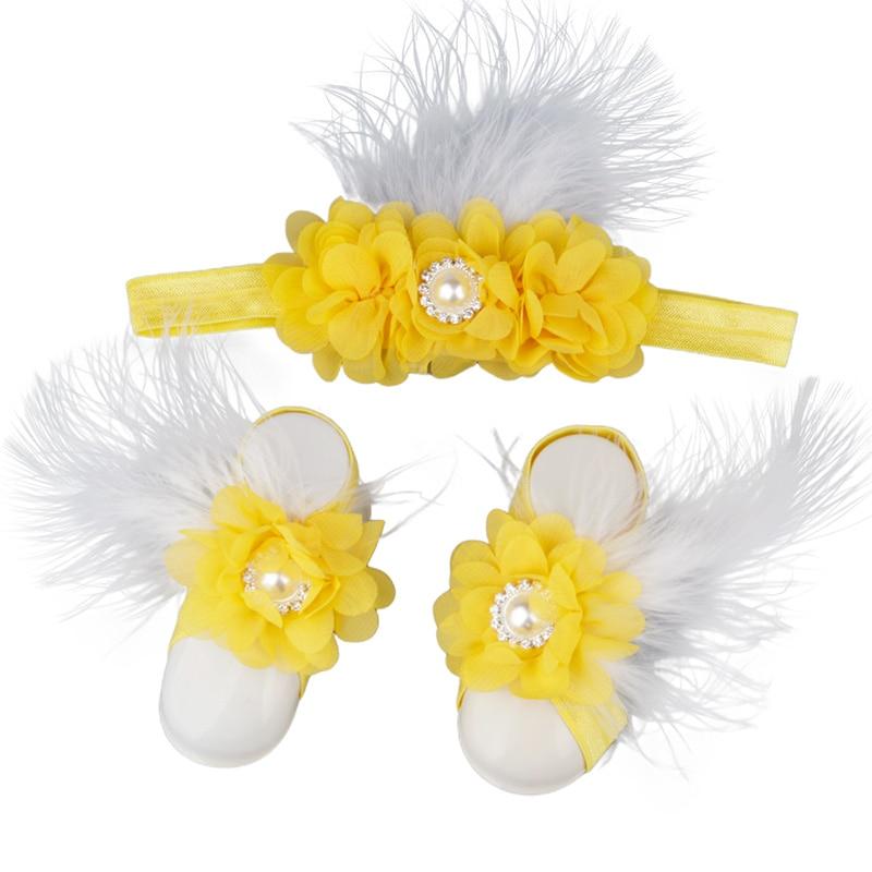 Baby Girls Flower Sandal Headband Elastic Hairband & Toddler Barefoot Sandals Cute 1 Pair Infant Photo Prop Set