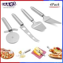 4 sztuk/zestaw gadżety kuchenne ze stali nierdzewnej narzędzia  kółko do krojenia pizzy  nóż do sera  krajalnica do sera i łopatka do podawania ciasta