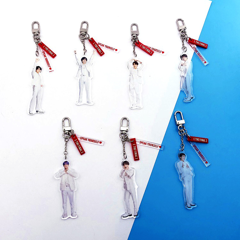 Bangtan Boys Keychain Keyring Cute Acrylic Fashion Figure Key Ring Holder Little Pendant Key Chains New Kpop Bt21 Accessories