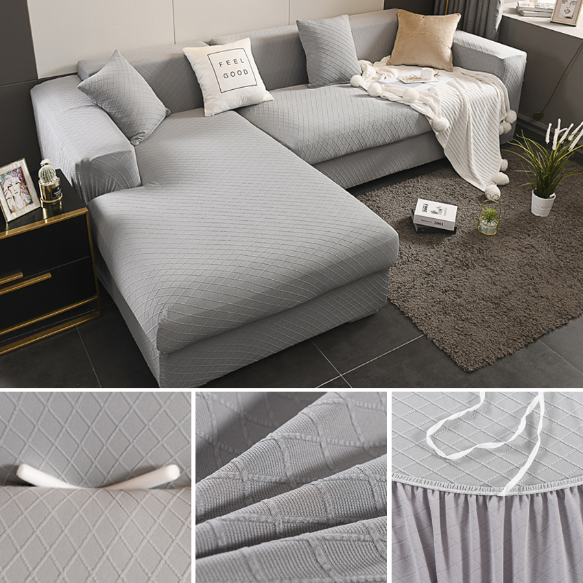 Jacquard Weave Elastic Sofa Covers For Living Room Magic Couch Cover For Armchair Chaise Lounge Stretch Sectional Sofa Protector