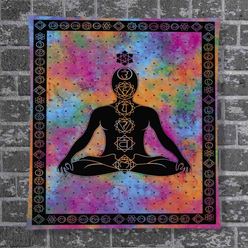 Indian Tapestry Meditation Lord Buddha 7 Chakra Wall Hanging Decor Poster Throw