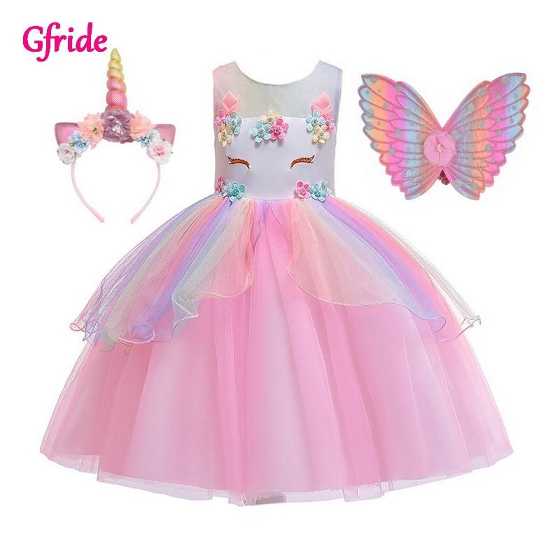 Girls Unicorn Costumes Kids Flowers Tutu Unicorn Dress Withe Headband Wings Princess Fancy Birthday Theme Party Costumes Pink