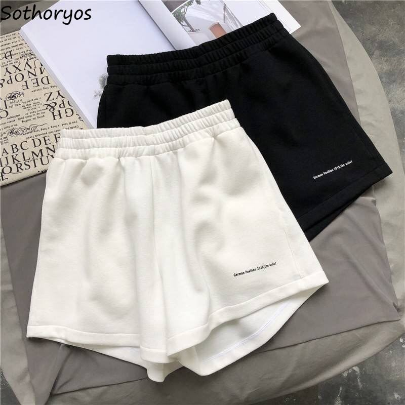 Shorts Women Solid Letter Fashion Oversize Loose Casual Korean Style A-line Chic Students Ins Simple Wide Leg All-match Ulzzang