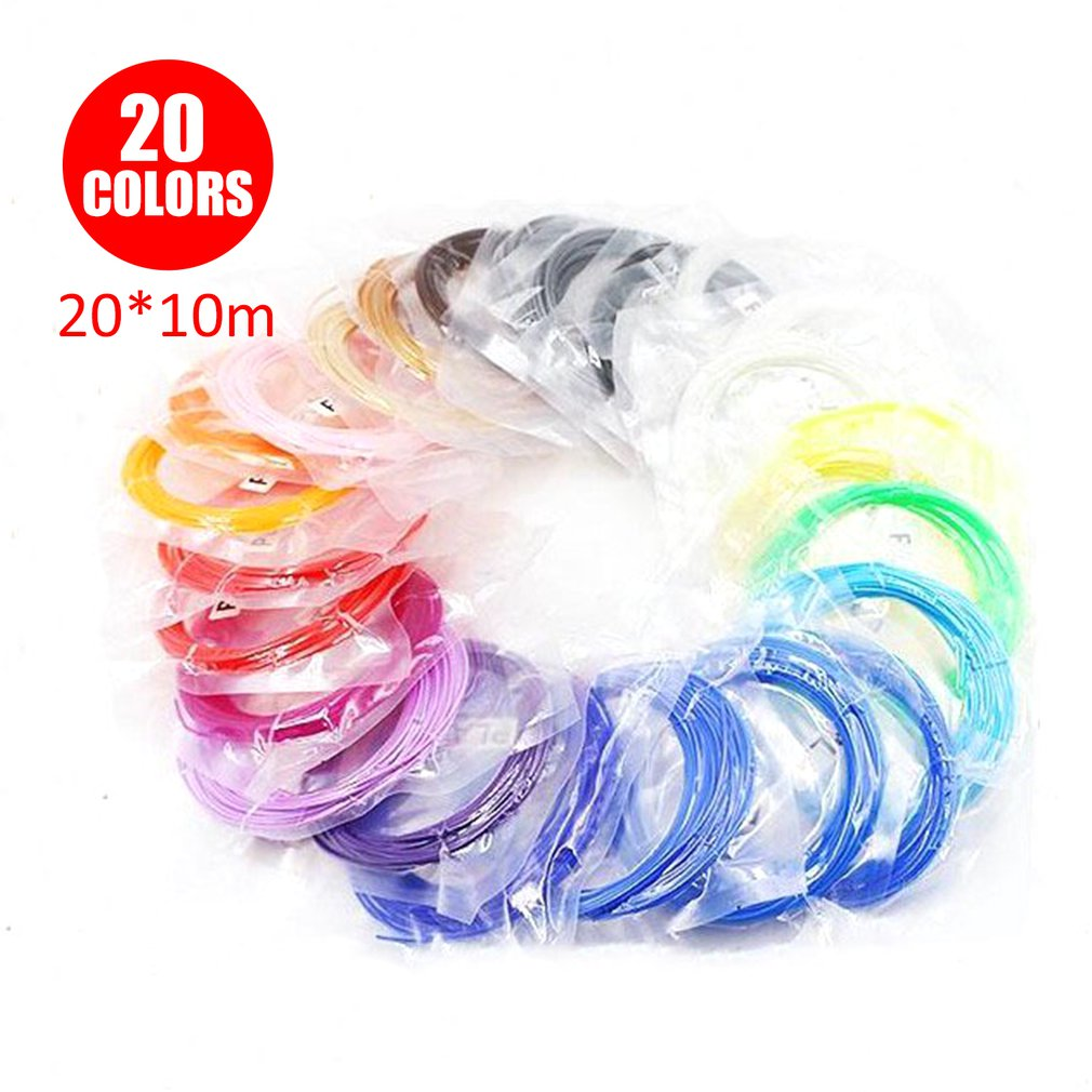 100 Meters 20 Colors PLA Filament Consumables For 3D Printing Pen Accessories Threads 3 D Printer Pens Consumables For Gifts