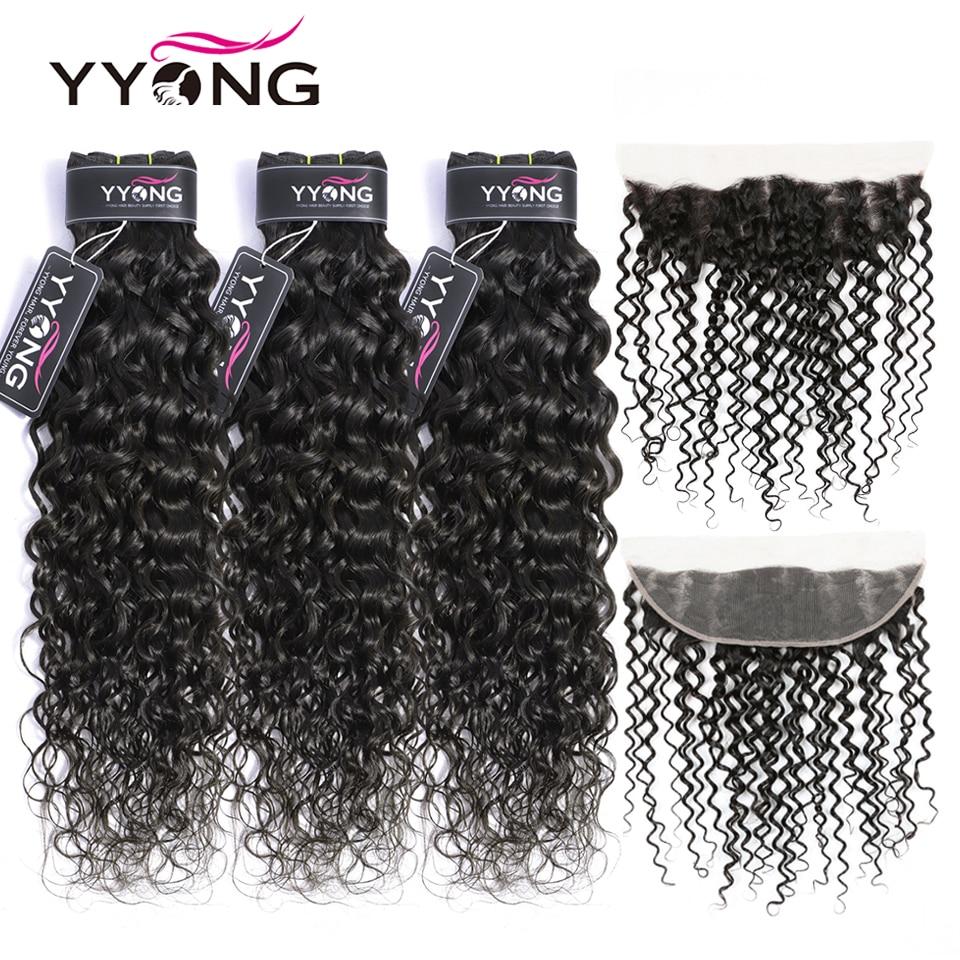Yyong extensiones con ondas al agua con Frontal 3 / 4 extensiones de pelo ondulado brasileño con Frontal Remy cabello humano encaje Frontal con mechones