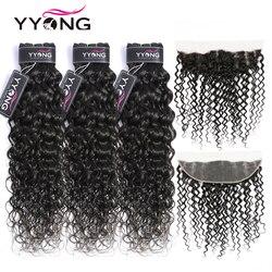 Yyong Water Wave wiązki z Frontal 3/4 brazylijski włosy wyplata wiązki z Frontal Remy ludzki włos koronki Frontal z wiązki