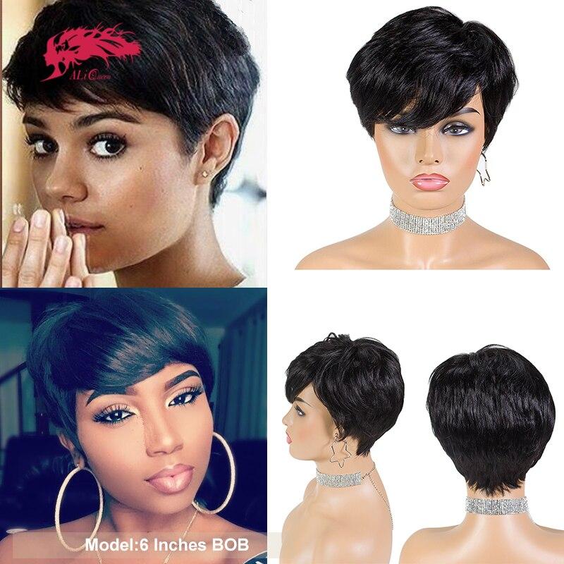 Pixie Cut Straight Short Bob Wigs Natural Black Ali Queen Hair Brazilian Remy Human Hair Wig Full Machine Wig