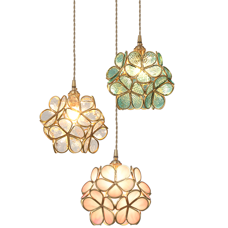 IWHD Nordic Flower Copper LED Pendant Lights Fixtures Dinning Living Room Light Loft Hanging Lamp Suspension Luminaire