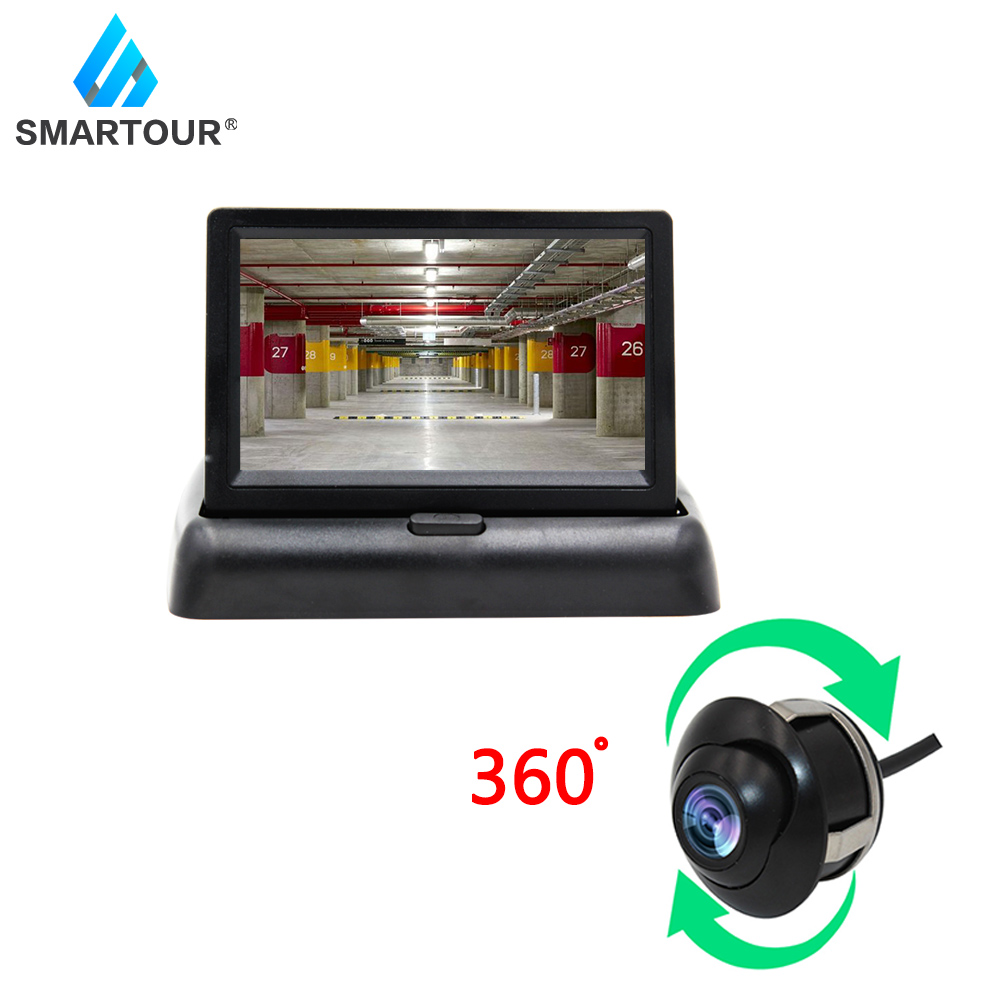 Smartour 4.3 Inch Foldable Car Monitor TFT LCD Display Cameras Reverse Vehicle Camera Parking System For Car Rearview Monitors