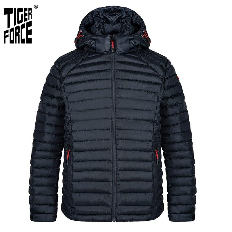 TIGER FORCE New 2021 Men Jacket Spring Casual Fashion High Quality Parka Cotton Coat Lightweight Slim zipper men jackets 50628