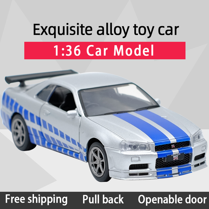 JK 1:36 Skyline GTR R34 Sports Car Alloy Diecast Car Model Toy With Pull Back For Children Gifts Toy Collection