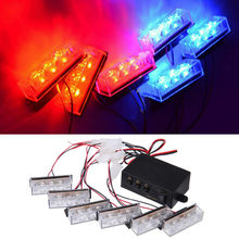 12V 6X3 LED 18 Red Blue Car Police Strobe Flash Light Emergency Warning Flashing Grille Lamps(China)