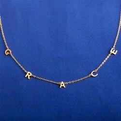 Персонализированное ожерелье C именем Dainty Chocker подарок на День Матери Идеи пользовательский начальный ожерелье с буквенными подвесками сер...