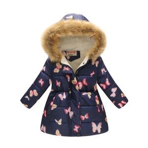Image 3 - 2020 new thickened multicolor winter girl jacket fashion printed hooded jacket children wear plus velvet warm girl jacket Christ