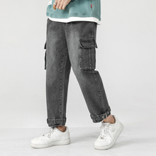 Drawstring Straight Jeans Men's Fashion Washed Retro Multi-pocket Tooling Men Streetwear Loose Hip Hop Denim Pants M-5XL