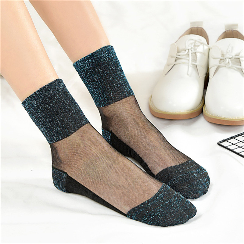 Sexy Lace Mesh Fishnet Socks Transparent Stretch Elasticity Funny Ankle Glass Socks Net Yarn Thin Women Cool Shiny Silk Socks